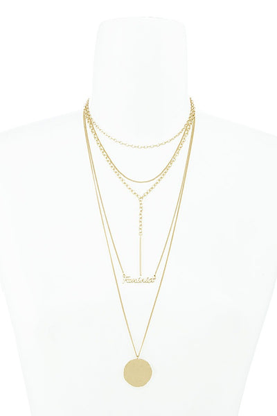 Feminist lettered multi layer geometric necklace