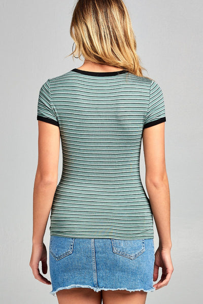 Ladies fashion round neck short sleeve yarn dye stripe rayon spandex jersey top