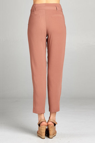 Ladies fashion high rise w/double metal trim belt long leg woven trousers