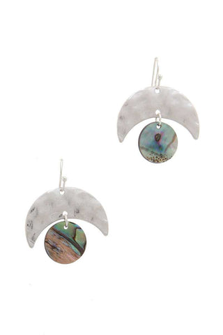 Hammered Metal Abalone Circle Drop Earring