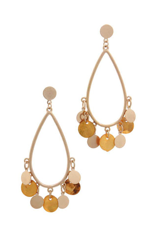 Coin Dangle Teardrop Shape Post Drop Earring