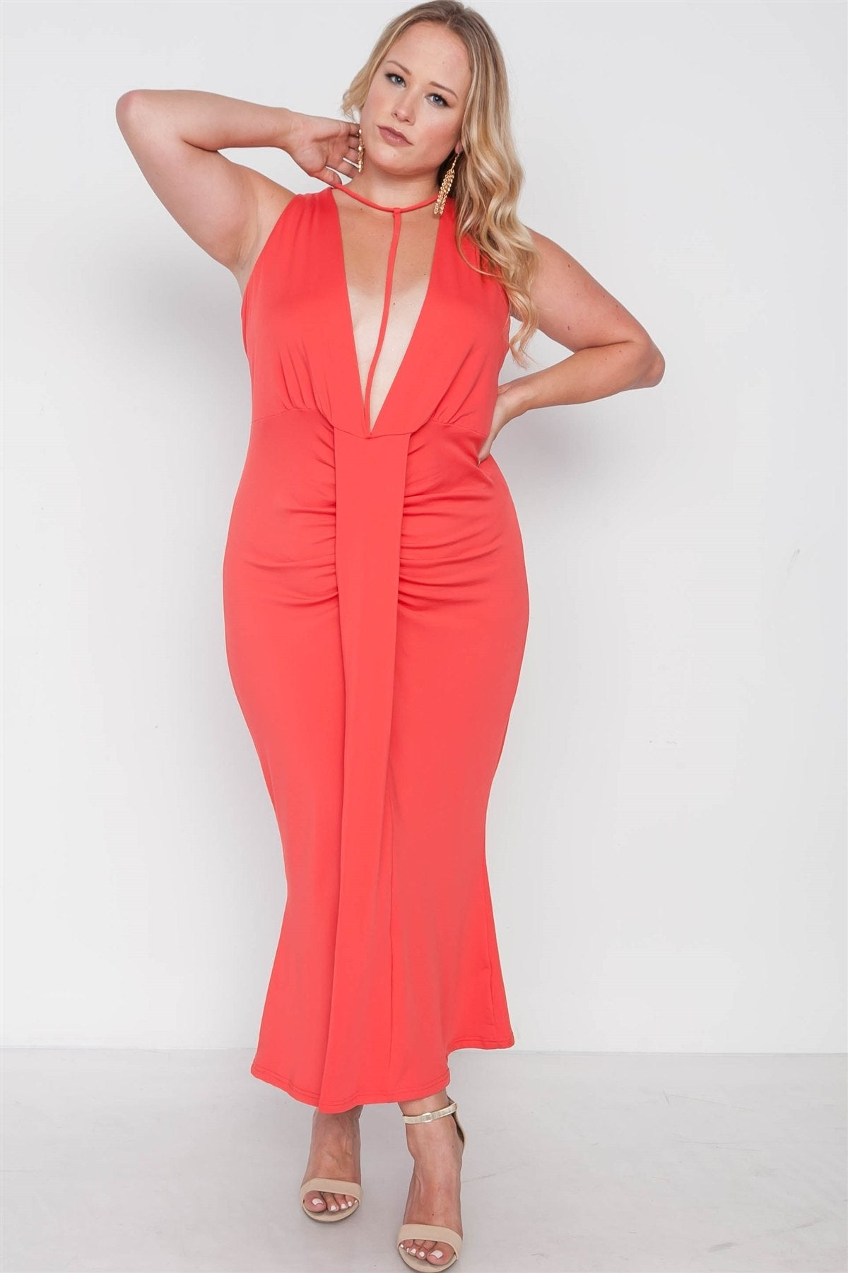 Plus Size Red Deep V-neck Strap Detail Maxi Dress