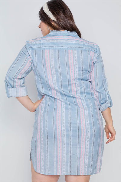 Plus Size Powder Blue Geo Print Shirt Dress