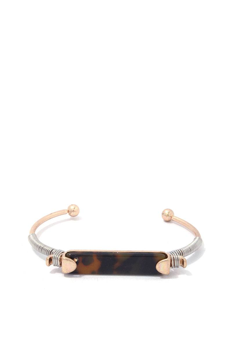 Acetate Bar Wire Wrapped Cuff Bracelet