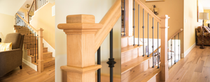Stair Model Wood Beech Post with Iron Baluster Knucles