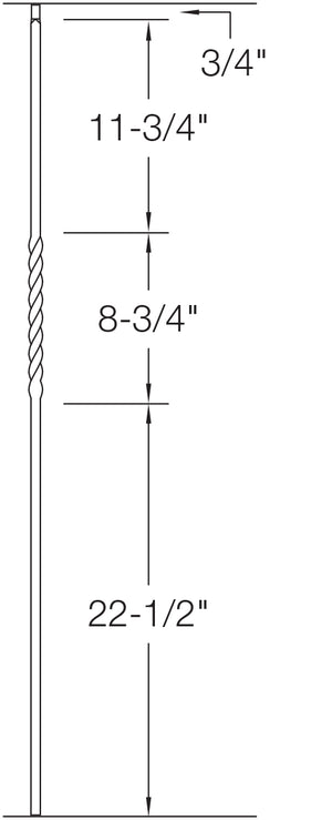 "T02 - Iron Baluster - Single Twist - 1/2"" x 44"""