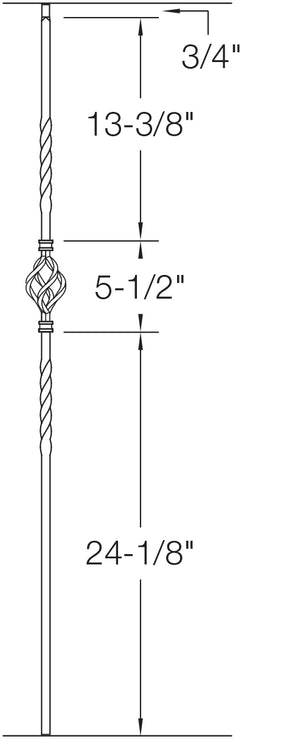 "T04 - Iron Baluster - Single Basket - 1/2"" x 44"""