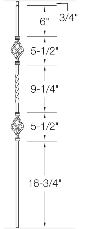 "T05 - Iron Baluster - Double Basket - 1/2"" x 44"""