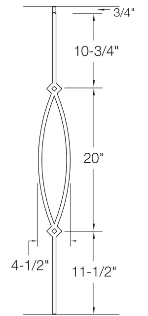"T16 - Iron Baluster - Pointed Oval - 1/2"" x 44"""