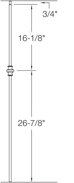 "T60 - Iron Baluster - Single Knuckle - 1/2"" x 44"""