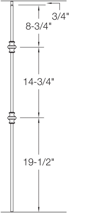 "T61 - Iron Baluster - Double Knuckle - 1/2"" x 44"""