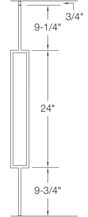 "T81 - Iron Baluster - Large Rectangle - 1/2"" x 44"""