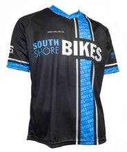 Load image into Gallery viewer, Black, blue, and breathable South Shore Bikes Lake Tahoe logo shop jersey in a short-sleeve. Mountain ready! Front.