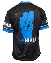 Load image into Gallery viewer, Black, blue, and breathable South Shore Bikes Lake Tahoe logo shop jersey in a short-sleeve. Mountain ready! Back.