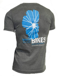 Our classic South Shore Bikes Lake Tahoe logo featured on a nice soft t-shirt. Back.