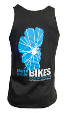 Load image into Gallery viewer, Soft cotton South Shore Bikes shop tank top with our iconic Lake Tahoe logo back.