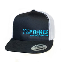 Load image into Gallery viewer, South Shore Bikes Lake Tahoe Logo featured on a mesh back hat. Blue white