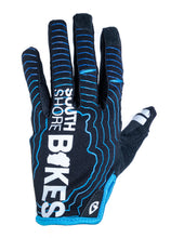 Load image into Gallery viewer, South Shore Bikes riding gloves in blue. Top. Excellent for mountain, road, and BMX.