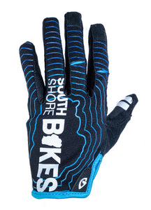 South Shore Bikes riding gloves in blue. Top. Excellent for mountain, road, and BMX.