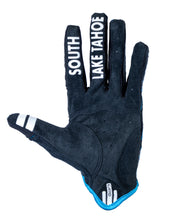 Load image into Gallery viewer, South Shore Bikes riding gloves in blue. Bottom. Excellent for mountain, road, and BMX.