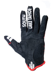 South Shore Bikes riding gloves in red. Bottom. Excellent for mountain, road, and BMX.