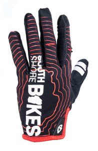 South Shore Bikes riding gloves in red. Top. Excellent for mountain, road, and BMX.