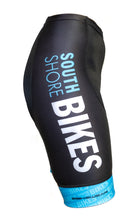 Load image into Gallery viewer, Stretchy spandex with our South Shore Bikes logo featured down the leg. Blue Side