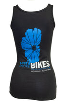 Load image into Gallery viewer, Women's South Shore Bikes tank top featuring our classic Lake Tahoe logo back.