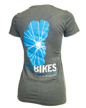 Load image into Gallery viewer, Women's South Shore Bikes soft t-shirt featuring our classic Lake Tahoe logo. Grey back