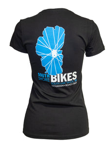 Women's South Shore Bikes soft t-shirt featuring our classic Lake Tahoe logo. Black back
