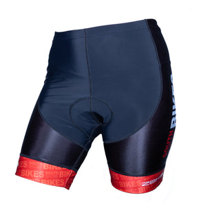 Stretchy spandex with our South Shore Bikes logo featured down the leg. Red front
