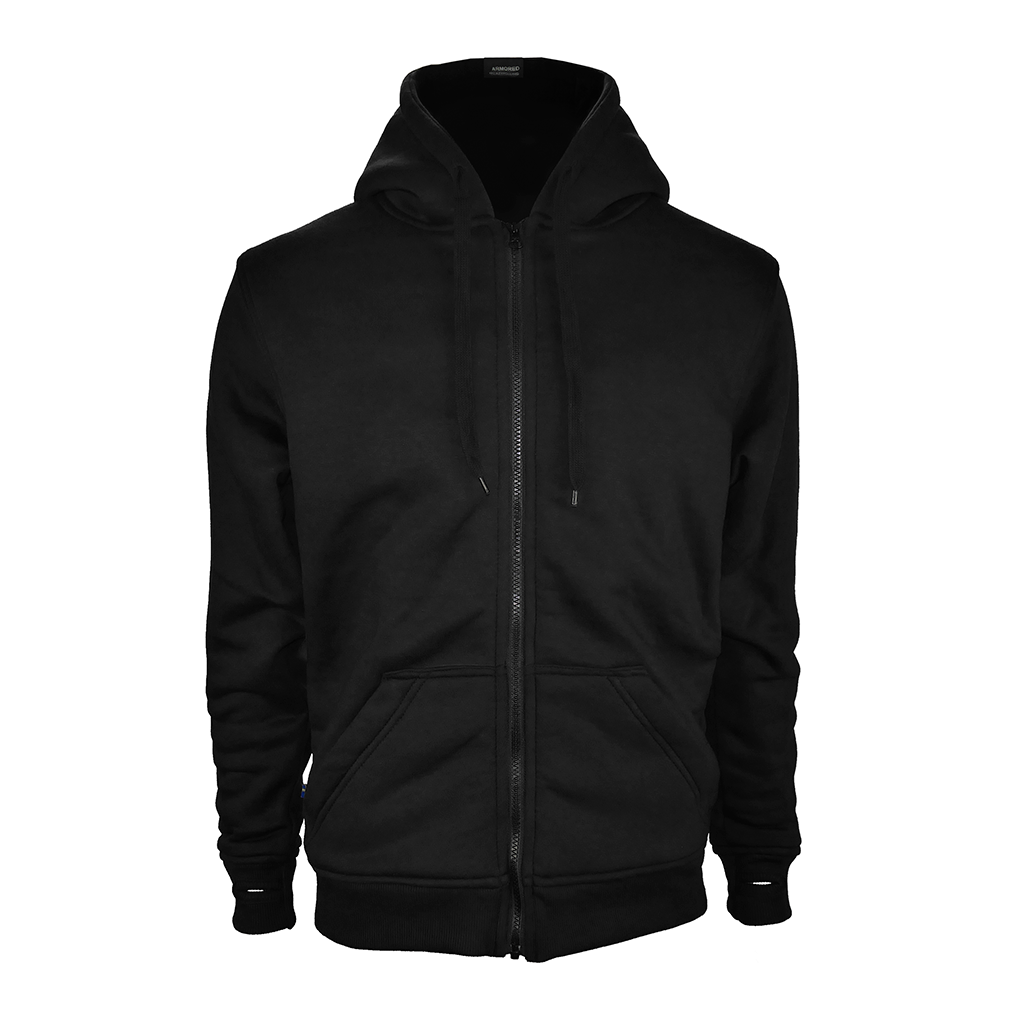 Black Armored Hoodie front, by LAZYROLLING