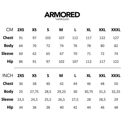 The Armored Size chart, by LAZYROLLING