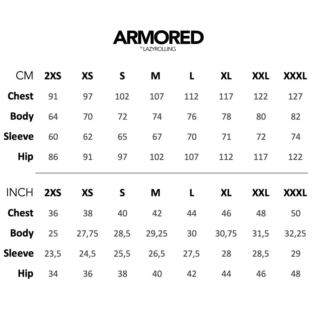 Sizeguide for the ARMORED JACKET, by LAZYROLLING