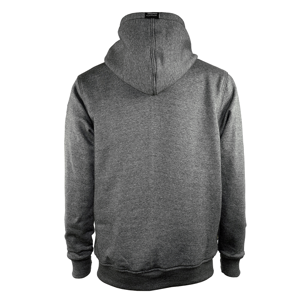Grey Armored Hoodie from the back, by LAZYROLLING