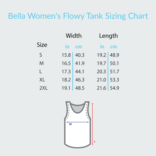 GUITAR THREAD | BELLA WOMEN'S FLOWY GUITAR TANK TOP SIZING CHART