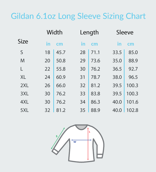 GUITAR THREAD | GILDAN LONG SLEEVE GUITAR SHIRT SIZING CHART