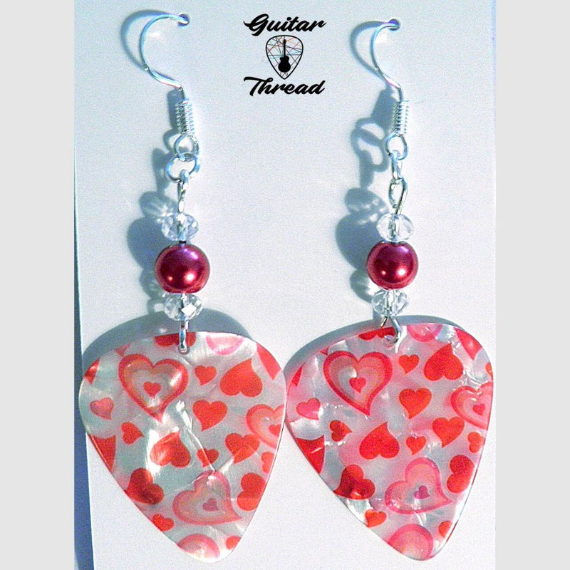Handmade Guitar Pick Earrings | Red Hearts