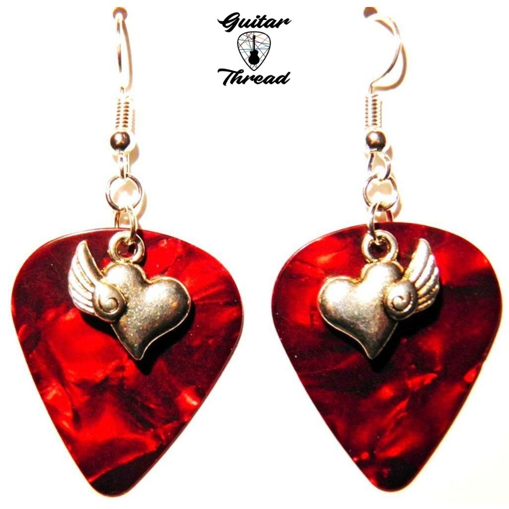 Handmade Guitar Pick Earrings | Heart With A Wing