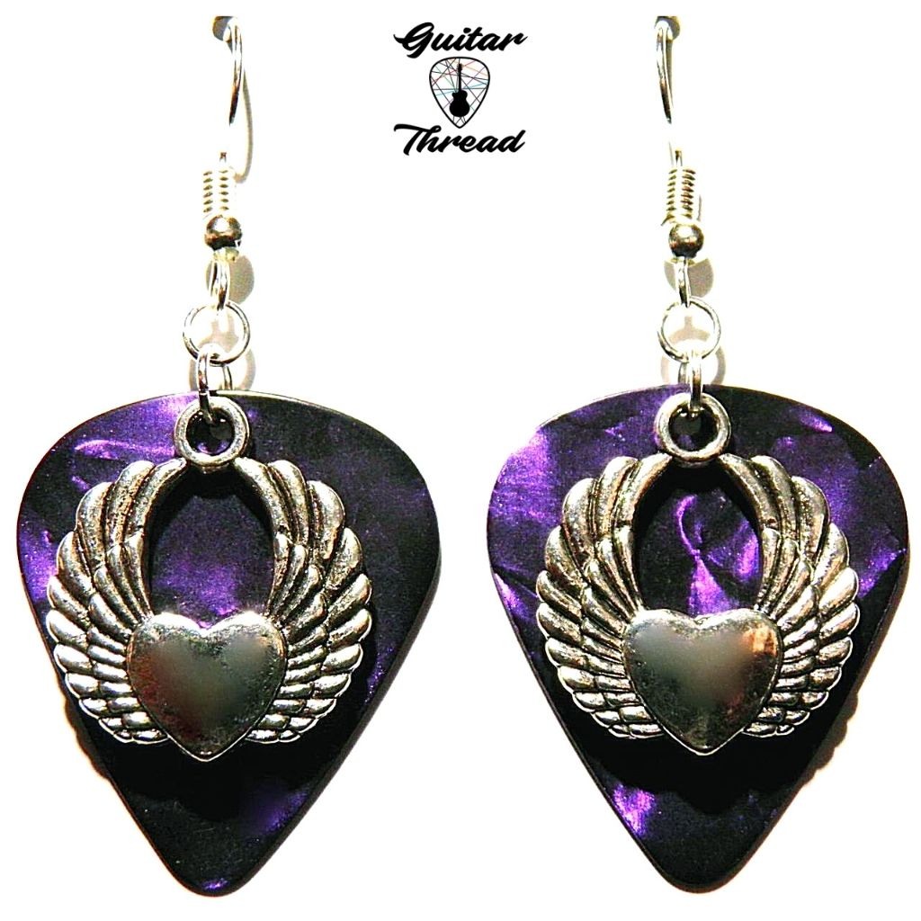 Handmade Guitar Pick Earrings | Heart With Wings