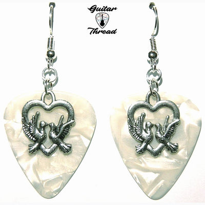 Handmade Guitar Pick Earrings | Doves In Heart