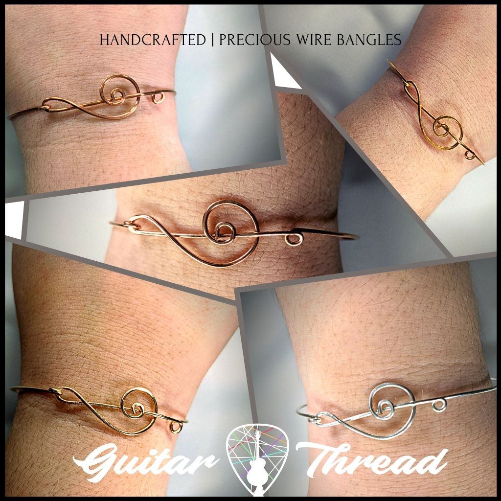 Handcrafted Minimalist Bracelet | Treble Clef Bangle | Gold, Silver, Copper