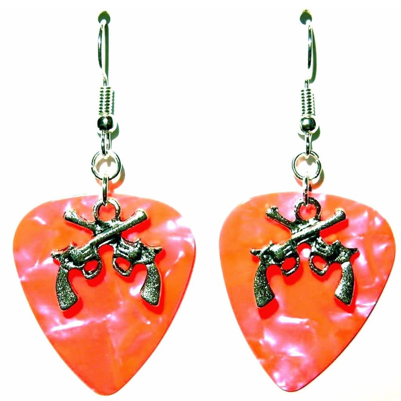 Handmade Guitar Pick Earrings | Crossed Guns Country Music