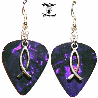 Handmade Guitar Pick Earrings | Fish Symbol