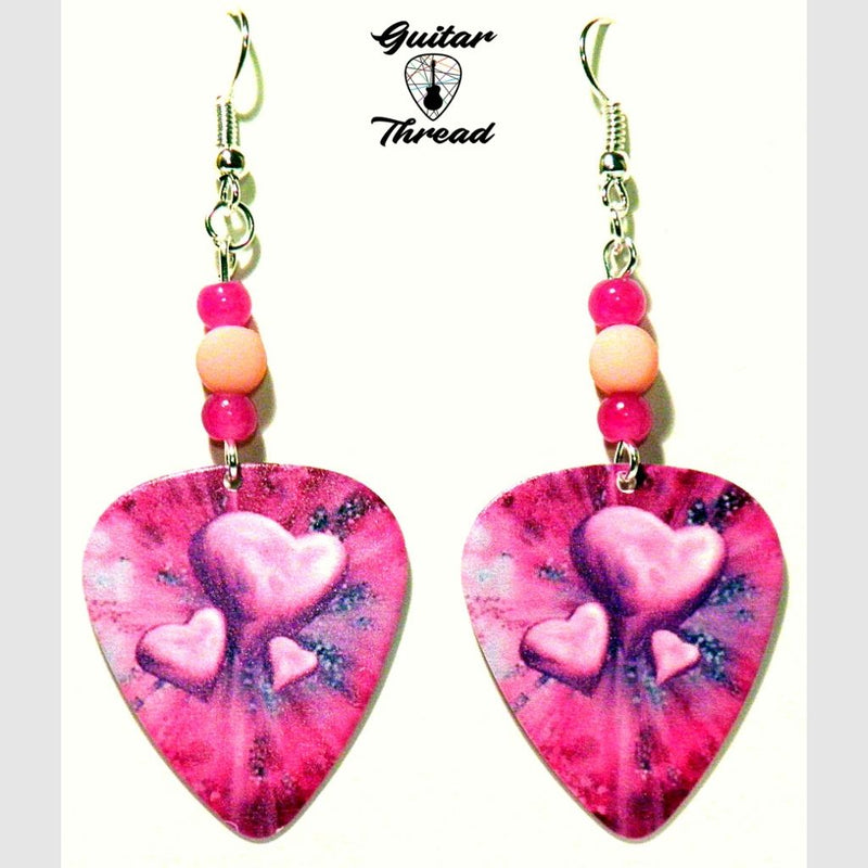Handmade Guitar Pick Earrings | Pink Hearts