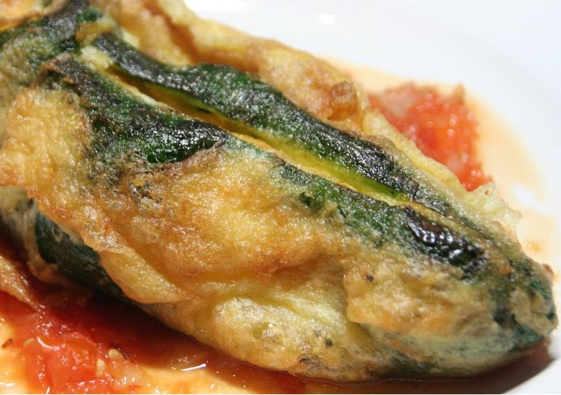 Chiles Rellenos (With plantain, beans and cheese)