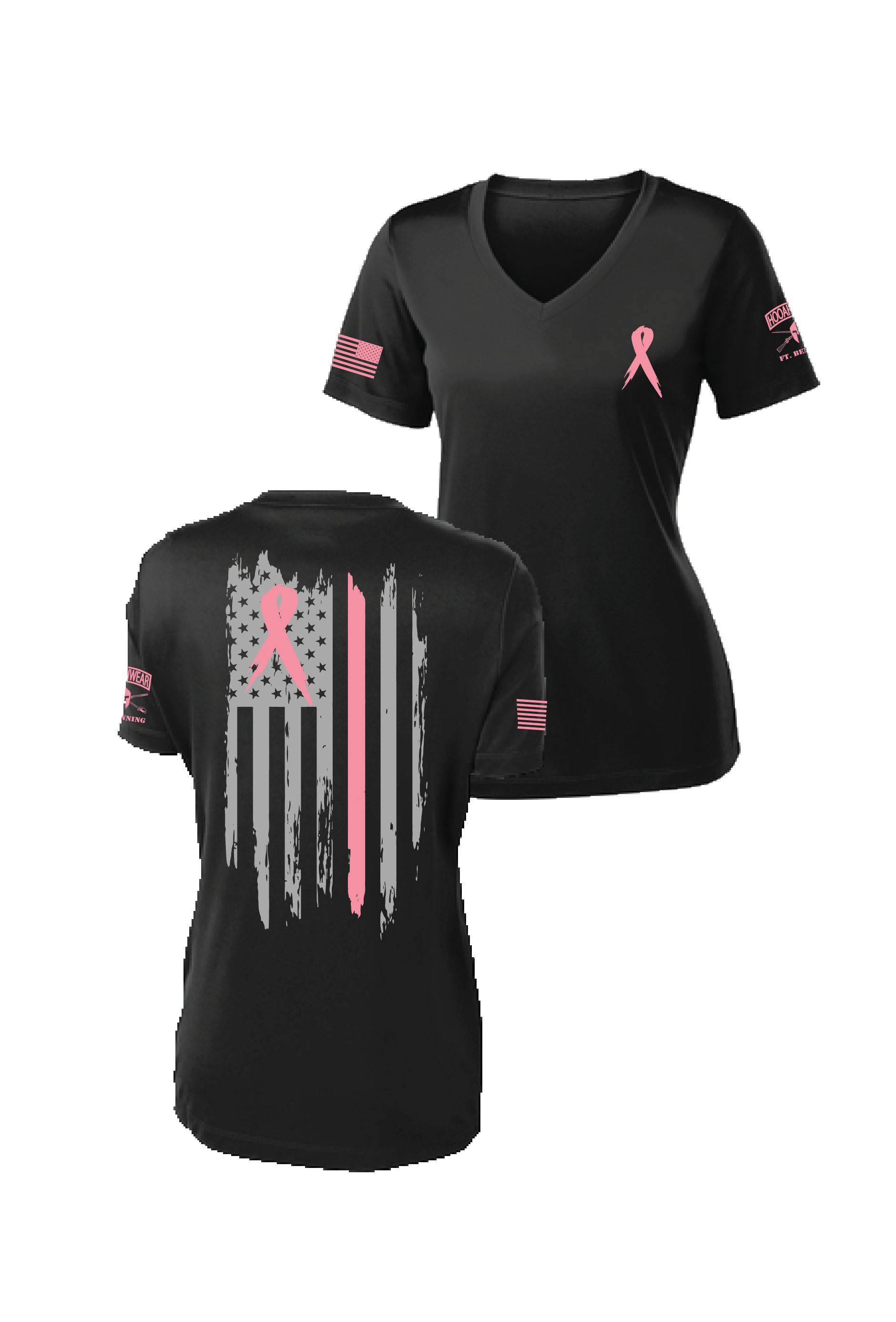 Breast Cancer Awareness Ribbon V-Neck Drifit