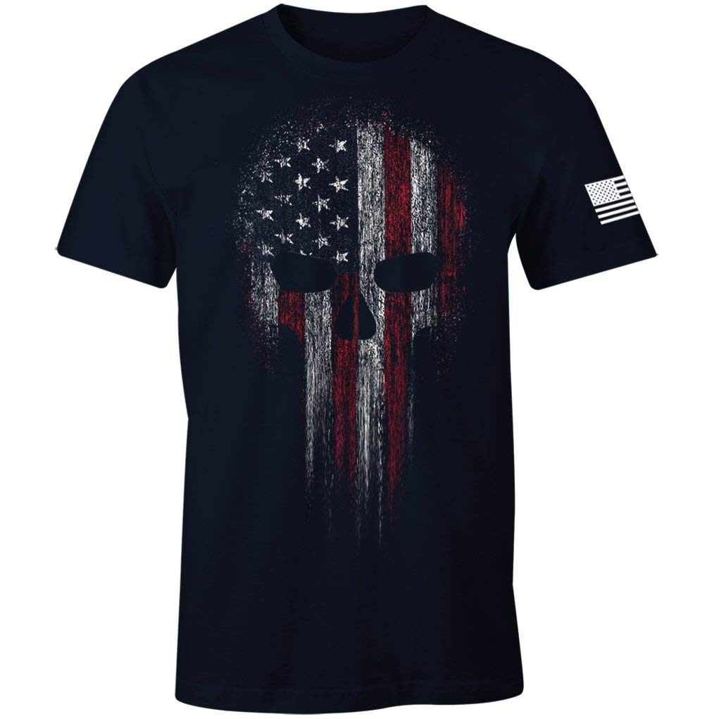 USA Military American Skull Flag Patriotic Men's T Shirt