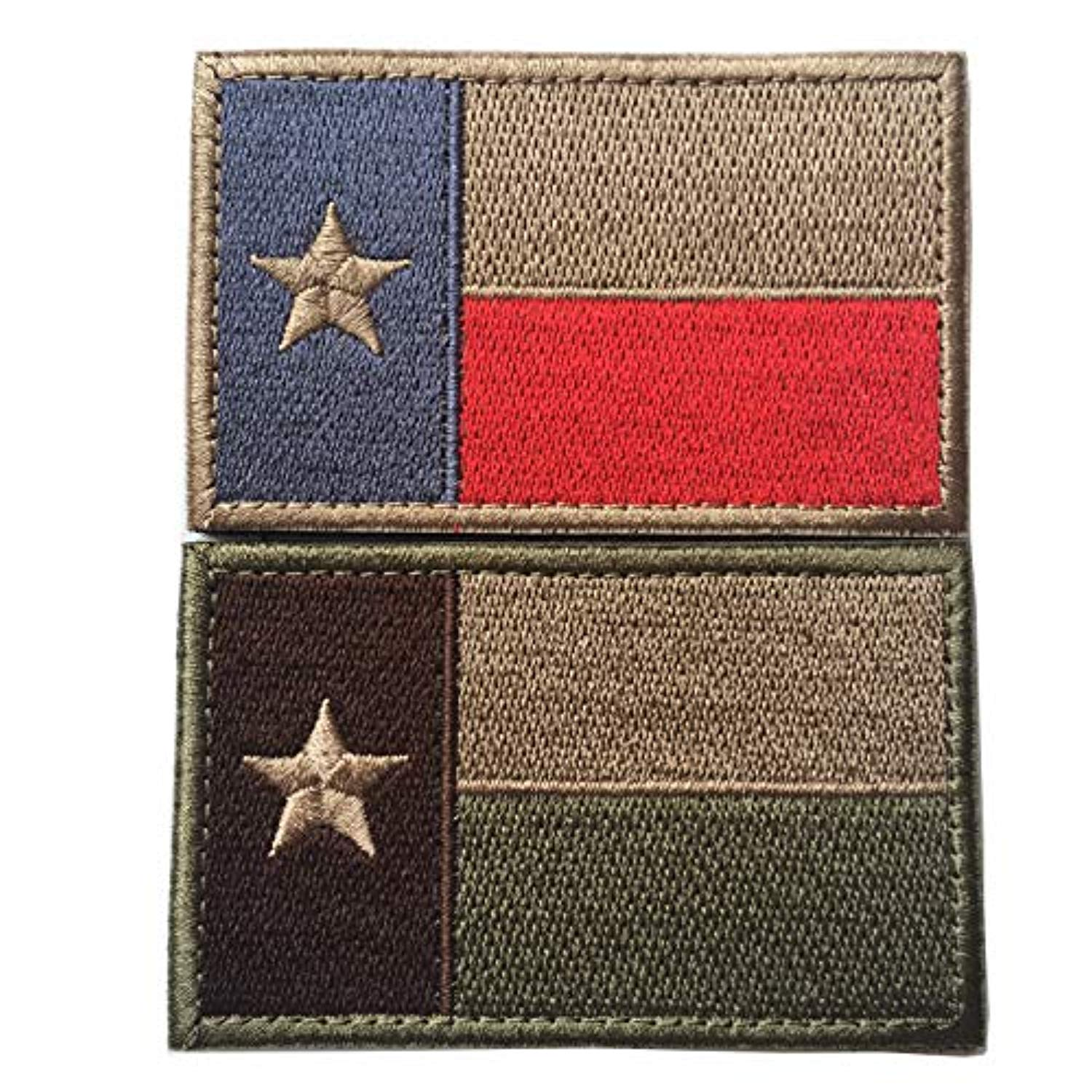 Bundle 2 Pieces - Tactical American US Texas State Lonely Star Flag Patch Morale Patch-Hook & Loop Fastener Morale 2
