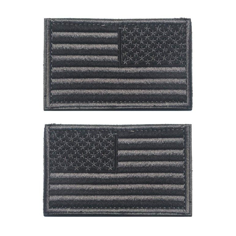 WZT 2 Pcs Regular and Reverse American Flag Embroidered Patches (Grey)